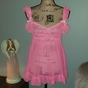 Victoria's Secret Neon Pink Mesh Ruffle Babydoll